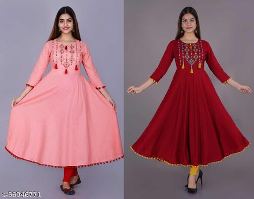 Rayon Solid Embroidery Gown Kurti With Tussle and Pompom Combo of 2 Pcs.