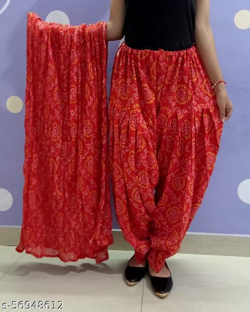 Womens Blue Patiala Salwar with Pocket and Big Cotton Dupatta