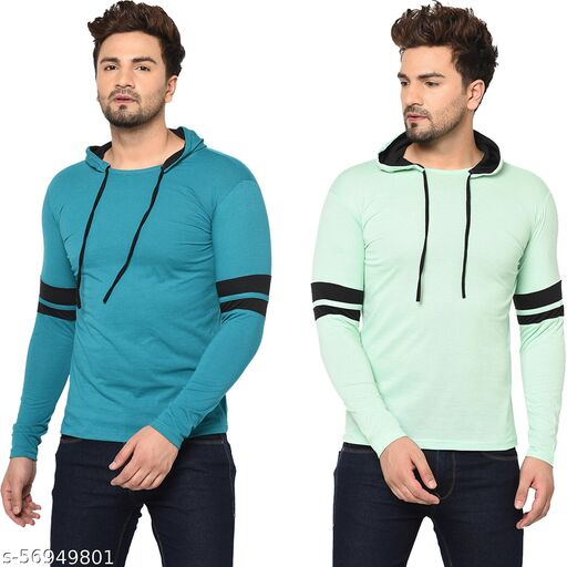 Tivy Men's Cotton Blend Full Sleeve Hooded Sweatshirts (Pack Of 2)