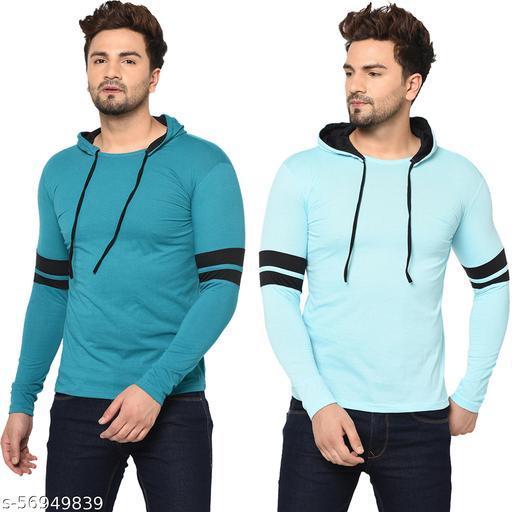 Tivy Men's Cotton Blend Full Sleeve Hooded T-shirt (Pack Of 2)