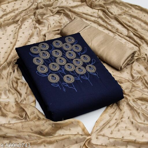 Colored Navy Blue Casual Wear Floral Embroidered Cotton Slub Dress Material