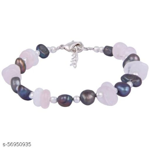 Pearlz Ocean Pink Beauty Dyed Freshwater Pearl & Rose Quartz Gemstone Beads 7.5 Inches Bracelet