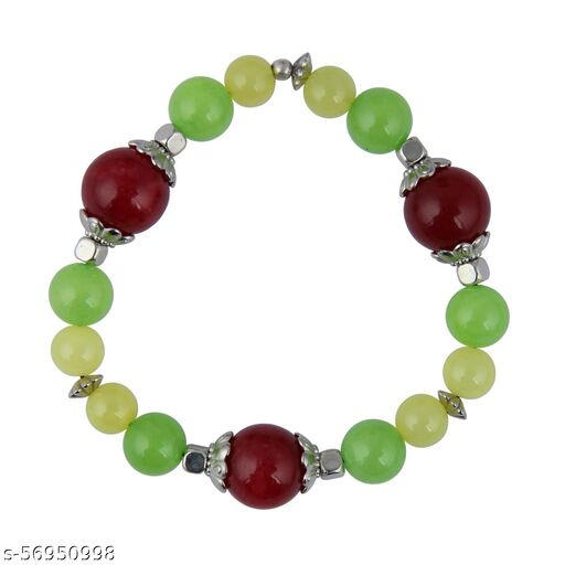 Green, Red and Yellow Quartz Beads 7.5 inch Bracelet for Girls