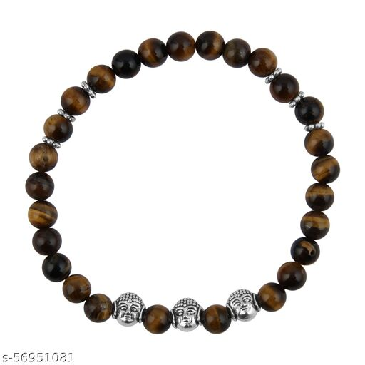 PearlzGallery Yellow Tiger Eye Gemstone 7.5 Inch Stretchable Bracelet for Women