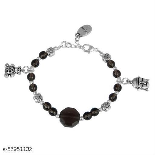 Pearlz Ocean Hazel Sweet 7.5 Inches Smoky Quartz Gemstone Beads Charms Bracelet
