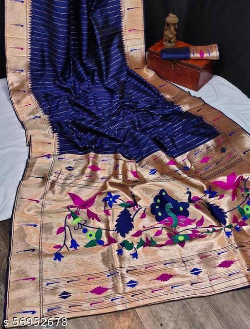 Shangreela Banarasi soft silk paithani saree with zari border and exclusive zari pallu with blouse piece