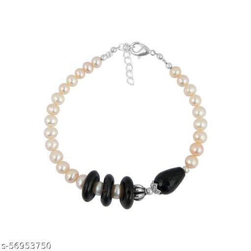 Agate, Obsidian and Freshwater Pearl 7 inches Bracelet for Girls