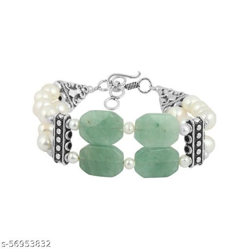 Freshwater Pearl and Aventurine 7 inches Bracelet for Girls