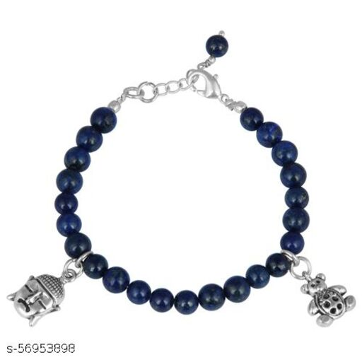 Pearlz Ocean Charmed 7.5 Inches Dyed Lapis Lazuli Gemstone Beads Charms Bracelet