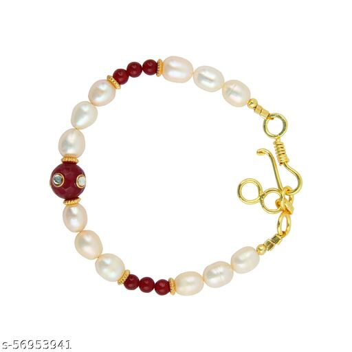 Orange Freshwater Pearl and Red Jade Bracelet with Extension