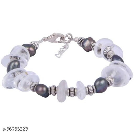 Pearlz Ocean Sublime Beauty Crystal & Dyed Black Freshwater Pearl 7.5 Inches Bracelet