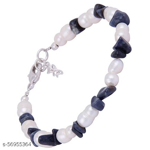 Pearlz Ocean Fashion Ivy Blue Sapphire Gemstone Beads & White Freshwater Pearl 7.5 Inches Bracelet