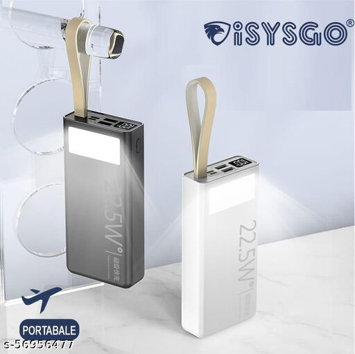 stylish 20000 mAh / 22.5 W fast charging with battery % indicator inbuilt led torch effect