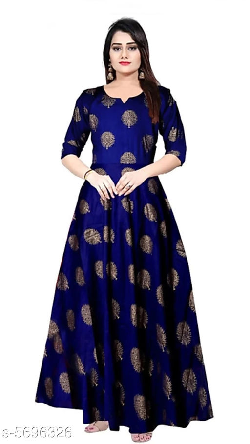 Gowns Trendy Women Stylish Gowns Fabric: Rayon Sleeve Length: Three-Quarter Sleeves Pattern: Printed Set Type: Single piece Stitch Type: Stitched Multipack: 1 Sizes:  M (Bust Size: 38 in Length Size: 50 in)  L (Bust Size: 40 in Length Size: 50 in)  XL (Bust Size: 42 in Length Size: 50 in)   XXL (Bust Size: 44 in Length Size: 50 in) Country of Origin: India Sizes Available: Free Size, M, L, XL, XXL, XXXL *Proof of Safe Delivery! Click to know on Safety Standards of Delivery Partners- https://ltl.sh/y_nZrAV3  Catalog Rating: ★4 (37923)  Catalog Name: Shardha Trendy Women Stylish long Gowns CatalogID_854863 C79-SC1289 Code: 863-5696326-