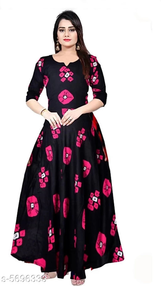 Gowns Trendy Women Stylish Gowns Fabric: Rayon Sleeve Length: Three-Quarter Sleeves Pattern: Printed Set Type: Single piece Stitch Type: Stitched Multipack: 1 Sizes:  M (Bust Size: 38 in, Length Size: 50 in)  L (Bust Size: 40 in, Length Size: 50 in)  XL (Bust Size: 42 in, Length Size: 50 in)   XXL (Bust Size: 44 in, Length Size: 50 in) Sizes Available: Free Size, M, L, XL, XXL, XXXL *Proof of Safe Delivery! Click to know on Safety Standards of Delivery Partners- https://ltl.sh/y_nZrAV3  Catalog Rating: ★4 (37923)  Catalog Name: Shardha Trendy Women Stylish long Gowns CatalogID_854863 C79-SC1289 Code: 373-5696333-