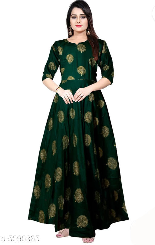 Gowns Trendy Women Stylish Gowns Fabric: Rayon Sleeve Length: Three-Quarter Sleeves Pattern: Printed Set Type: Single piece Stitch Type: Stitched Multipack: 1 Sizes:  M (Bust Size: 38 in, Length Size: 50 in)  L (Bust Size: 40 in, Length Size: 50 in)  XL (Bust Size: 42 in, Length Size: 50 in)   XXL (Bust Size: 44 in, Length Size: 50 in) Sizes Available: Free Size, M, L, XL, XXL *Proof of Safe Delivery! Click to know on Safety Standards of Delivery Partners- https://ltl.sh/y_nZrAV3  Catalog Rating: ★4 (37923)  Catalog Name: Shardha Trendy Women Stylish long Gowns CatalogID_854863 C79-SC1289 Code: 863-5696335-