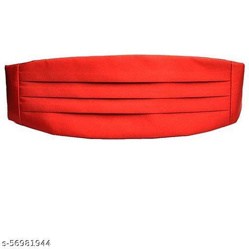 Mens Party Wedding 3 Pleat Adjustable Belt Cummerbund (Red): One Size for Waist 34 to 42
