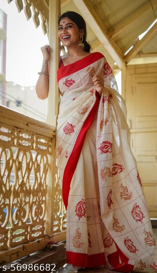Rifashion-New designeer saree in chanderi cotton digital printed and with banglory satin