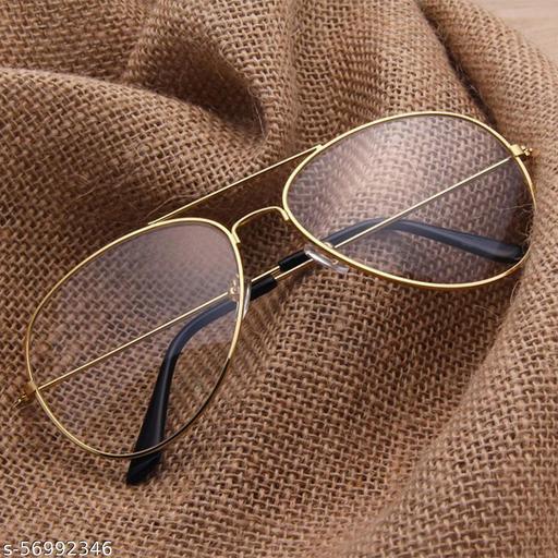 Momentum Clear Lens & Golden Frame Pilot Sunglasses | Boys & Girls | UV Protection | MM-95