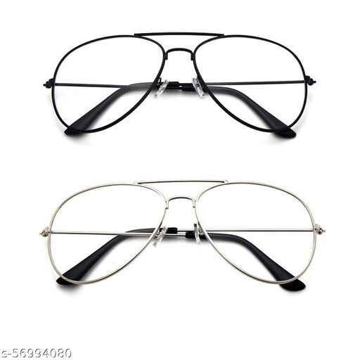 Momentum Clear Aviator Sunglasses | Unisex | Black & Silver Frame | Combo of 2 | MM-99