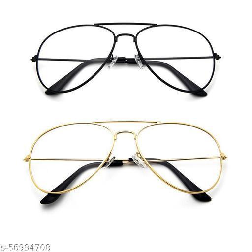 Momentum Clear Aviator Sunglasses | Unisex | Black & Golden Frame | Two Sunglasses | MM-100