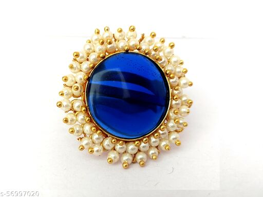Blue Crystal Shine Stone  Round & Clustered Pearls Bridal Finger Ring
