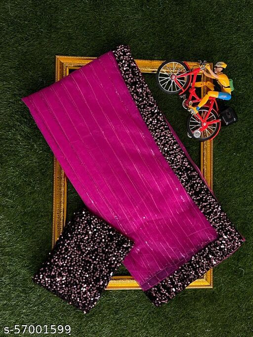 Beautiful  3 MM  Sequence Work With 5 MM Hanging Sequence Lace Border Women's Rani Sarees