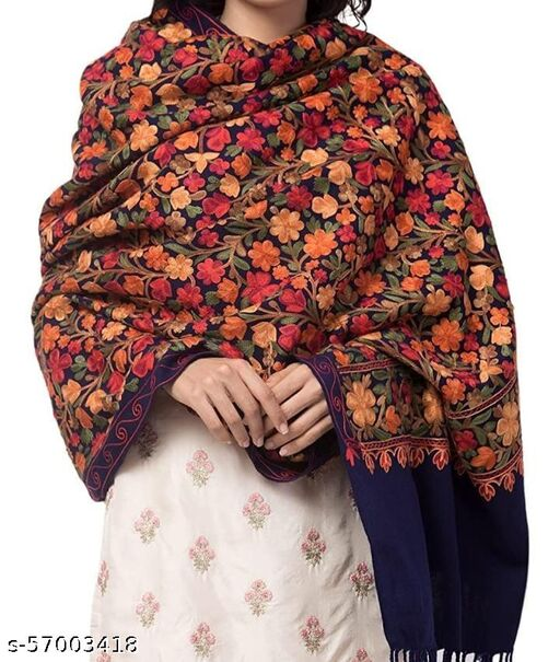 Heavy Floral Kashmiri Embroidery Shawl,Stole for Women,Ladies,Girls