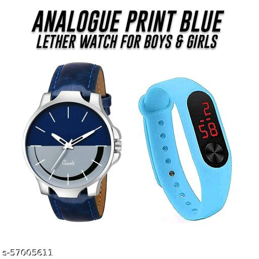 TRUE CHOICE NEW FASHION BLUE & GREY DIAL WATCH WITH SKY BLUE COLOR M2 BAND