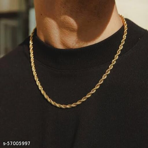 RKO exclusive gold thin neck chain for men and women gold-plated most famous necklace classic designer trendy chain for men and boys