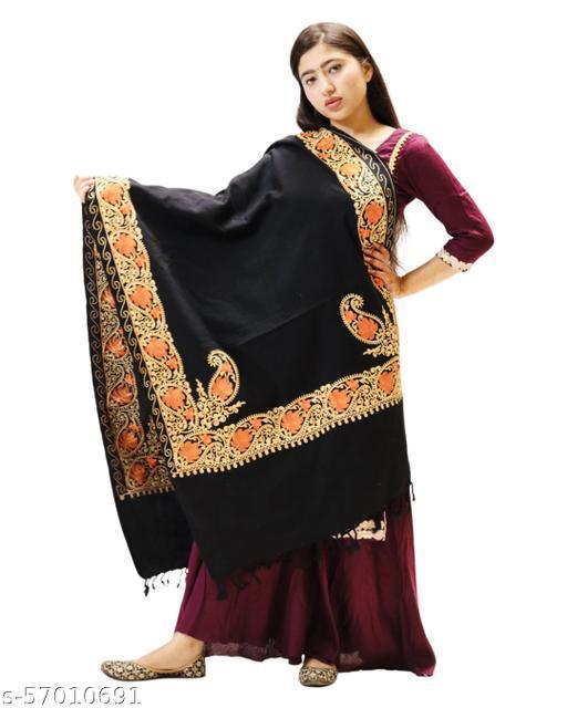 Border Kashmiri Embroidery Shawl,Stole for Women,Ladies,Girls