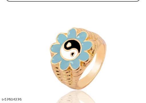 YU Fashions Yin Yang Daisy Flower Golden Ring Set of 3