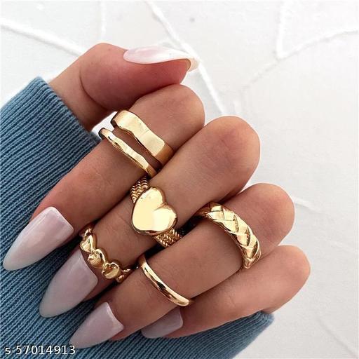 Yu Fashions Bohemian Heart Golden Ring Set of 5