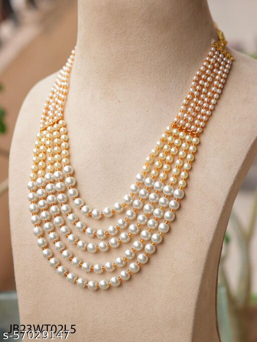 Rajwadi Stylish Traditional Pearl Gold Plated 5 Layered Mala for women & Men Necklace