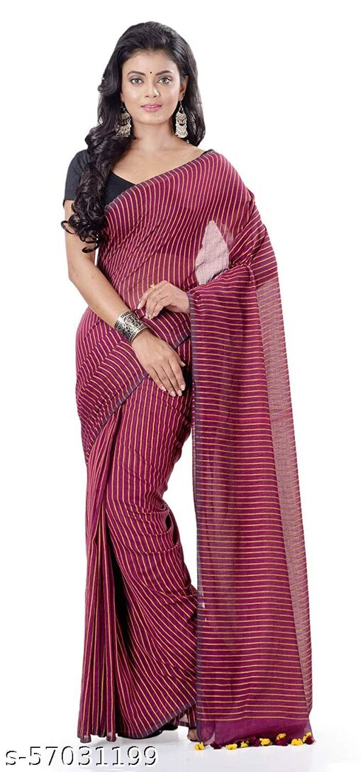 Handloom Striped Saree with Running Bloouse Piece