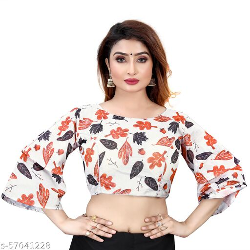 Mansi F Studio  WING BELL SLEEVE PRINTED POLYCOTTON TRENZY READYMADE  FENCY DESING BLOUSE