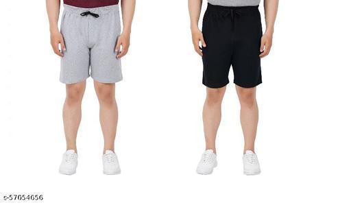 Active Shorts San Tee Men Cotton Solid Shorts Grey Melange::Black Pack Of 2