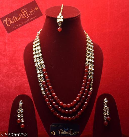 maroon colour kundan Ranihaar with tika &earring