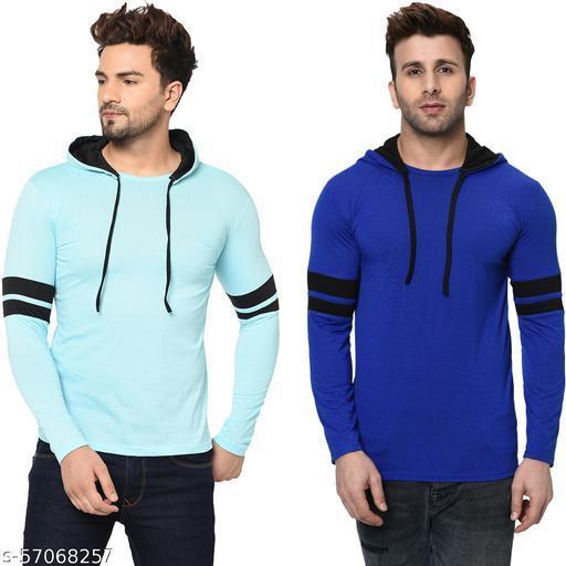 Jaskart Men's Cotton Blend Full Sleeve Hooded Sweatshirts (Pack Of 2)