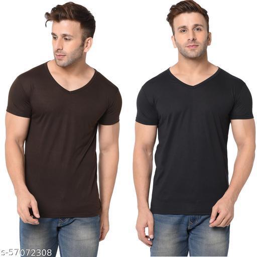 Jangoboy Men's Half Sleeve Cotton Blend V-neck T-shirt Pack of 2