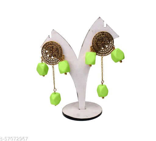 Unique Fashion House Golden Oxidised Chemical Beads Earrings for Women and Girls