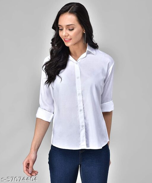 Solid White Rayon Shirt for women