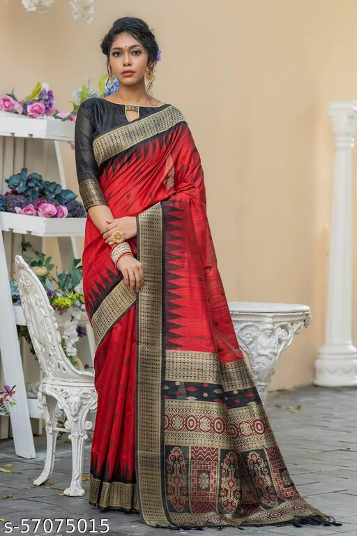 KB Semi Pure tussur silk weaving saree with Temple woven border small woven butti contrast pallu and blouse piece with exclusive tassels