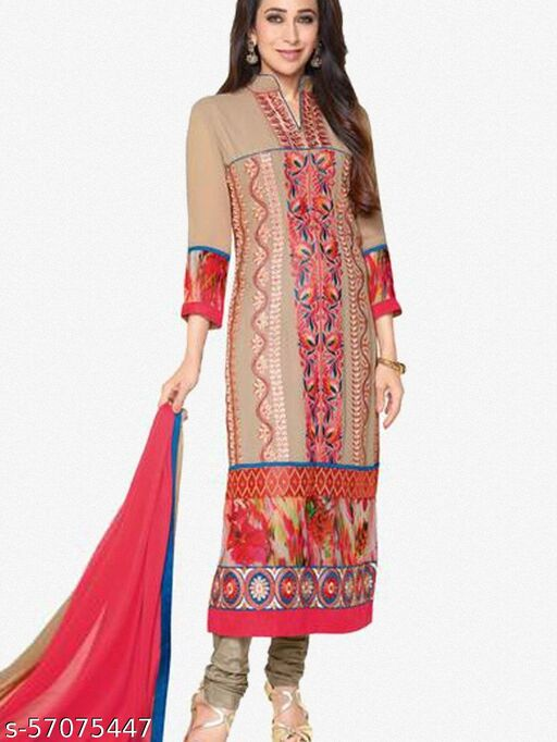 The Karishma Kapoor Collection:atisundar admirable Pink And Brown Designer Straight Cut  Semi-Stitched Suits