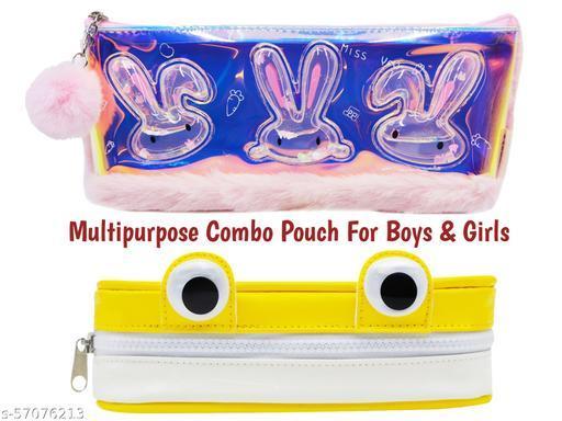 jhj-10 hetvik -  Designer Water Glitter Combo Pencil Pouch (Rabbit Shape + eys pouch) for Boys & Girls