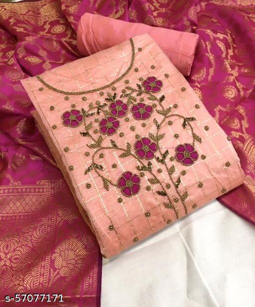 Chanderi Cotton Embroidered Unstitched Salwar Suit Dress Material With Banarasi Dupatta