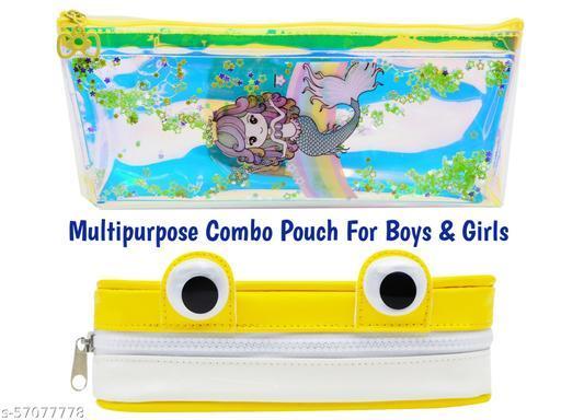 Designer Water Glitter Combo Pencil Pouch (Rabbit Shape + eys pouch) for Boys & Girls