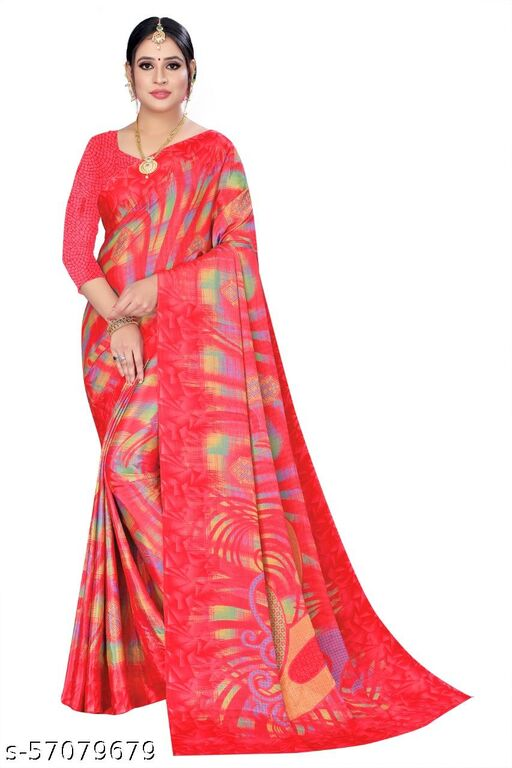 Red Crepe Designer Printed Saree With Blouse
