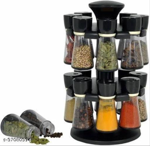 Revolving Plastic Spice Rack Masala Organiser (12 pcs )