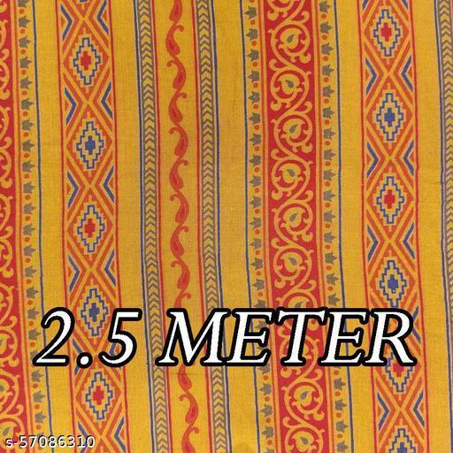 Yellow Stripes Traditional Print on Poly Viscose Fabrics